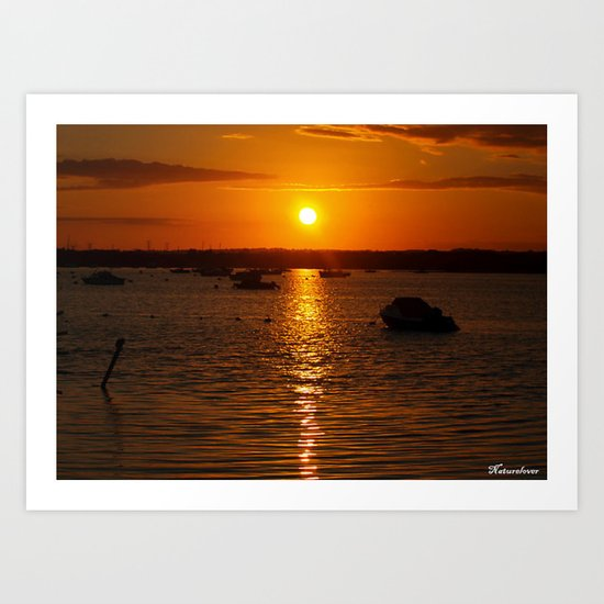 Sunset Over Sandbanks Art Print