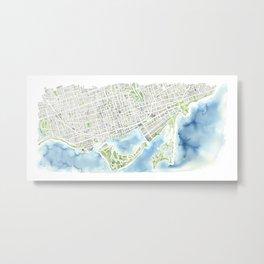 Toronto Canada Watercolor city map Metal Print