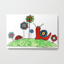 Summer Joy - Abstract Snail and Flowers Metal Print