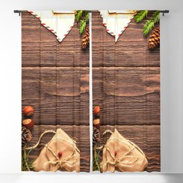 Christmas Holiday Rustic Decor Wooden Planks Blackout Curtain