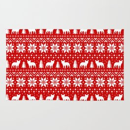 French Bulldog Silhouettes Christmas Sweater Pattern Rug