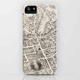 Vintage Pictorial Map of Marlborough MA (1878) iPhone Case
