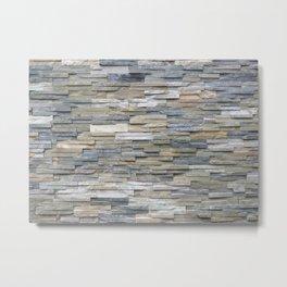 Gray Slate Stone Brick Texture Faux Wall Metal Print