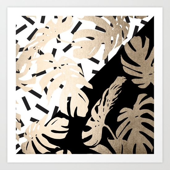 Simply Tropical Midnight Black Memphis Palm Leaves Art Print