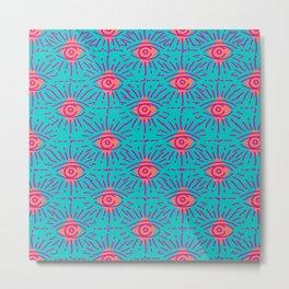 Dainty All Seeing Eye in Neon Metal Print