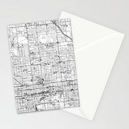 Vintage Map of Phoenix Arizona (1952) 2 BW Stationery Cards
