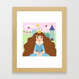 Fairy Tale Princess With Her Story Book Castle - Blue Dress Framed Art Print