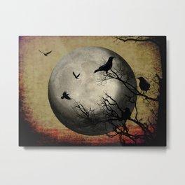 Rustic Black Bird Raven Crow Tree Dark Side of the Moon Gothic Art A169 Metal Print