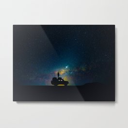 Australian Outback At Night Star Night Sky Milky Way Galaxy Colorful Metal Print