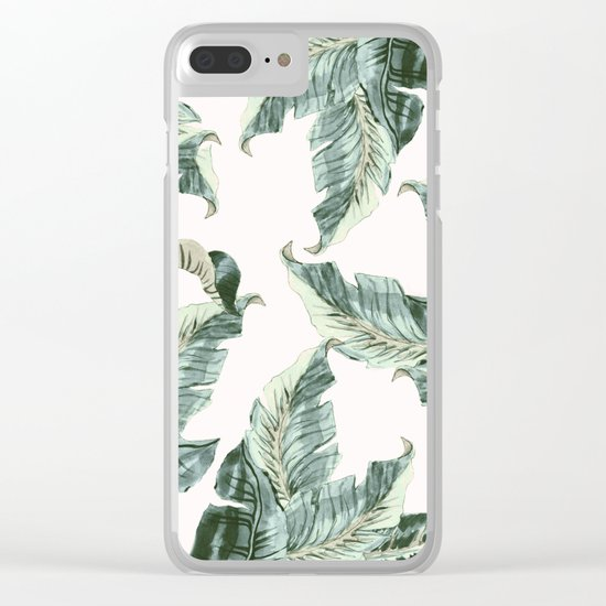 Tropical Banana Leaves Clear iPhone Case