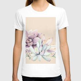 Trendy Apricot + Mint Succulents T-shirt