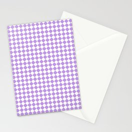 Small Diamonds - White and Light Violet Stationery Cards