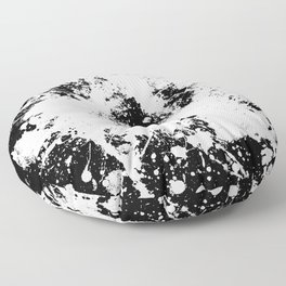 Spilt White Textured Black And White Abstract Painting Floor Pillow