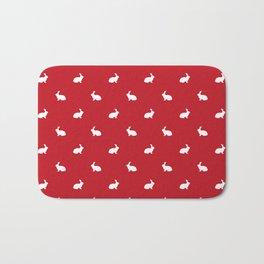 Rabbit silhouette minimal red and white basic pet art bunny rabbits pattern Bath Mat