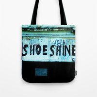 shoe Tote Bags featuring Shoe Shine  by mcmerriweather
