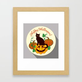 Halloween greetings with black cat silhouette.  Framed Art Print