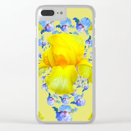 YELLOW & BLUE-WHITE IRIS BLACK ABSTRACT PATTERN Clear iPhone Case