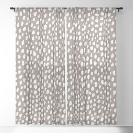 Handmade polka dot brush spots (white/taupe) Sheer Curtain