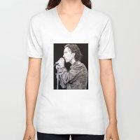 eddie vedder V-neck T-shirts featuring Eddie Vedder - Pearl Jam by whiterabbitart