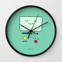 bmo Wall Clocks featuring Adventure! BMO by CLOD