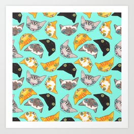 """Oro?"" Cats-Turquoise Art Print"