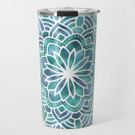 Mandala Succulent Blue Green Travel Mug