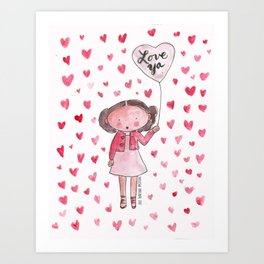 Love Ya: Watercolor with a Lot of Hearts Art Print