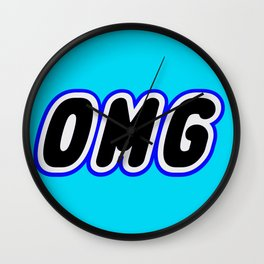 OMG in Brick Font Logo Design [Alternate Colors] by Chillee Wilson Wall Clock