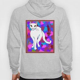 Pretty White Kitty in the Window - Stained Window Hoody