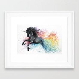 Unicorn dissolving Framed Art Print
