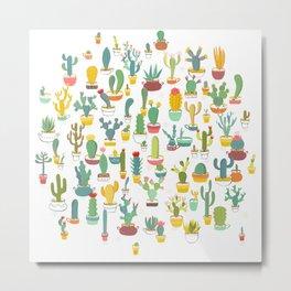 Cactuses in Pots Metal Print
