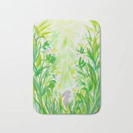 Bunny in strawberry patch Bath Mat