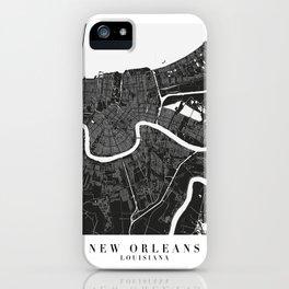New Orleans Louisiana Minimal Black Mono Street Map  iPhone Case