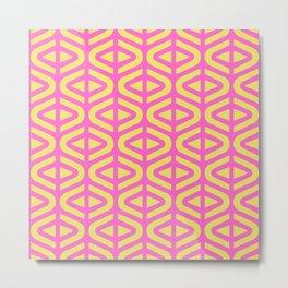 Mid Century Modern Split Triangle Pattern Pink and Yellow 2 Metal Print