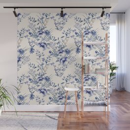 Chinoiserie Flowers Blue on Seashell Wall Mural