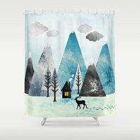 winter Shower Curtains featuring Winter by Sanja Amic