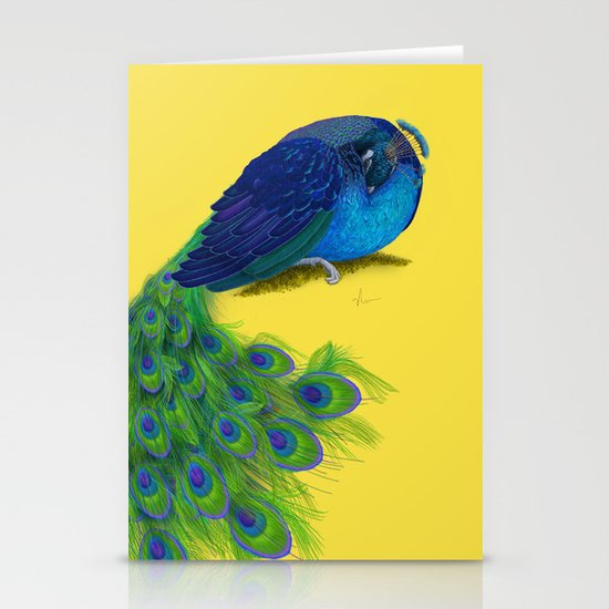 The Beauty That Sleeps - Vertical Peacock Painting Stationery Cards