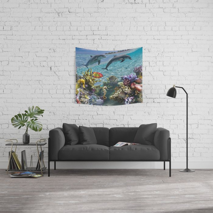 Coral Reef and Dolphins Wall Tapestry