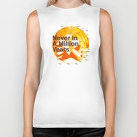 waldo Biker Tanks featuring Never In A Million Years < The NO Series (Orange) by Wayne Edson Bryan