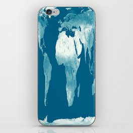 World Map Teal iPhone Skin