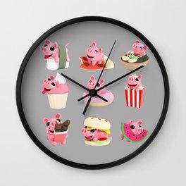 Rosa food collage grey Wall Clock
