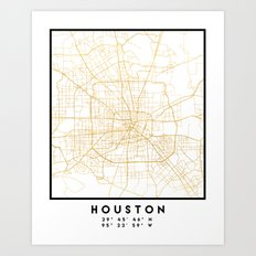 HOUSTON TEXAS CITY STREET MAP ART Art Print