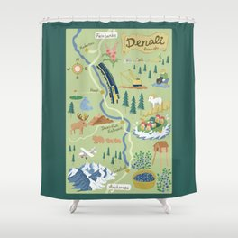 Denali Borough Map Shower Curtain