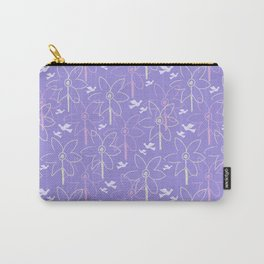Flowers and birds/violet background Carry-All Pouch