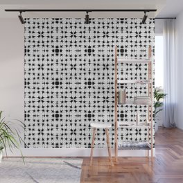 Strict white square tiles from elongated curly rhombuses in monochrome. Wall Mural