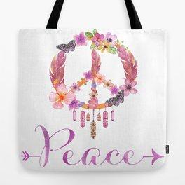 Peace Symbol Flower Power 70s Art Tote Bag