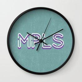 MPLS Minneapolis Minnesota Neon Typography Wall Clock