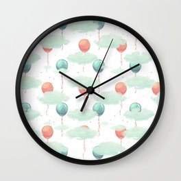 Modern coral teal watercolor clouds balloons pattern Wall Clock
