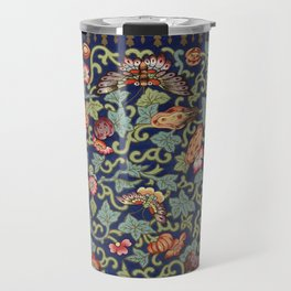 Asian Floral & Butterfly Pattern in Navy Blue Antique Illustration Travel Mug