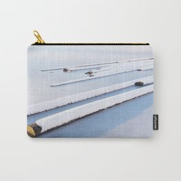 Snow frozen lake, snow covered logs, frozen, Lake, landscape Carry-All Pouch